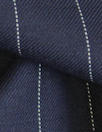 Italian wool pinstripe twill suiting - midnight/off white