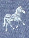 zebra print lightweight cotton denim - medium blue